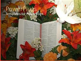 PowerPlugs: PowerPoint template with a beautiful depiction of a doe and a book along with flowers