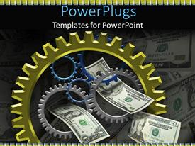 PowerPlugs: PowerPoint template with a beautiful depiction of dollar notes along with gears