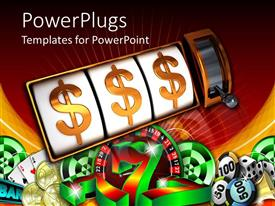 PowerPlugs: PowerPoint template with a beautiful depiction of dollar signs with jackpot and nice background