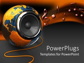 PowerPlugs: PowerPoint template with a beautiful depiction of a the Earth turned into a  speaker