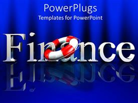 PowerPoint template displaying a beautiful depiction of a finance related theme with bluish background
