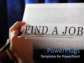 PowerPoint template displaying a beautiful depiction of finding a job in a newspaper