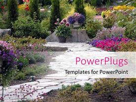 PowerPlugs: PowerPoint template with a beautiful depiction  of a garden with a number of floral plant