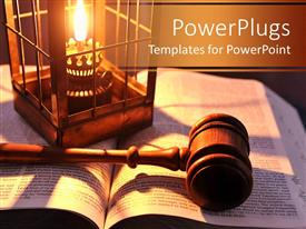 PowerPoint template displaying a beautiful depiction of a gavel and a Bible