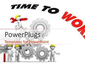 PowerPlugs: PowerPoint template with a beautiful depiction of gears and figures related to construction