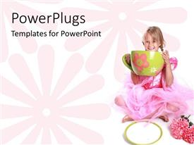 PowerPlugs: PowerPoint template with a beautiful depiction of a girl with a huge cup