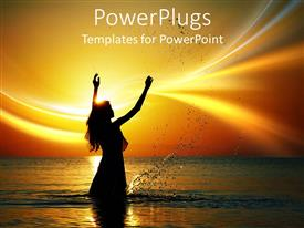 PowerPlugs: PowerPoint template with a beautiful depiction of a girl int he sea