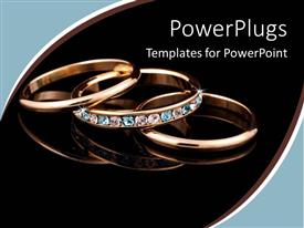 PowerPlugs: PowerPoint template with a beautiful depiction of gold rings with dark background