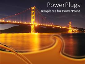 PowerPlugs: PowerPoint template with a beautiful depiction of the Golden Gate bridge at night