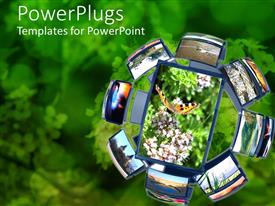 PowerPoint template displaying a beautiful depiction of a group of cell phones together along with greenery in the background