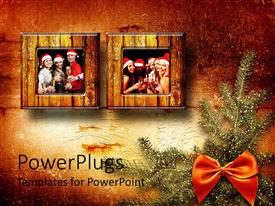 PowerPlugs: PowerPoint template with a beautiful depiction  of group pictures of friends on Christmas