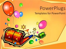 PowerPoint template displaying a beautiful depiction of happy new year party poster