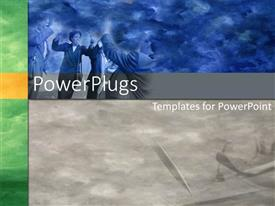 PowerPlugs: PowerPoint template with a beautiful depiction of happy people celebrating with each other