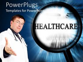 PowerPlugs: PowerPoint template with a beautiful depiction of healthcare related material along with a doctor