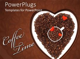 PowerPoint template displaying a beautiful depiction of heart full of chocolate beans and coffee time in text