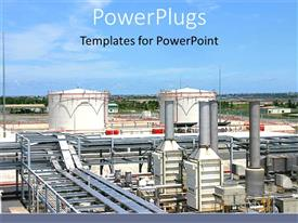 PowerPlugs: PowerPoint template with a beautiful depiction of an industrial area with clouds in the background
