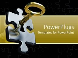 PowerPlugs: PowerPoint template with a beautiful depiction  of a key unlocking a puzzle