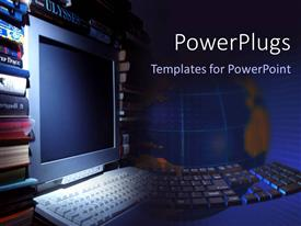 PowerPlugs: PowerPoint template with a beautiful depiction of a keyboard and a screen along with globe in the background