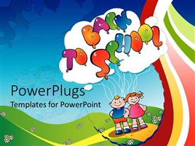 PowerPlugs: PowerPoint template with a beautiful depiction of kids celebrating together with green background