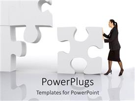 PowerPoint template displaying a beautiful depiction of a lady arranging puzzle pieces