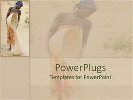 PowerPlugs: PowerPoint template with a beautiful depiction of a lady pouring grains with her reflection in the background