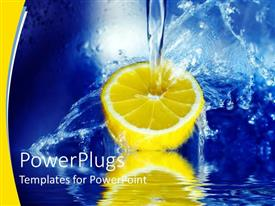PowerPoint template displaying a beautiful depiction of a lemon being splashed with water