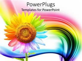 PowerPlugs: PowerPoint template with a beautiful depiction of a multicolored sunflower with rainbow in the background