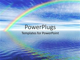 PowerPlugs: PowerPoint template with beautiful depiction of nature with calm sea and sky with rainbow