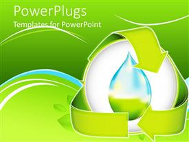 PowerPlugs: PowerPoint template with a beautiful depiction of the need of conserving the water with green background