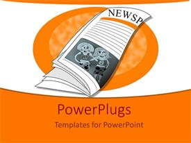 PowerPlugs: PowerPoint template with a beautiful depiction  of a newspaper with orange background