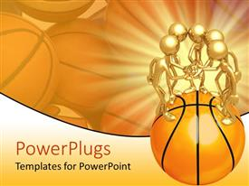 PowerPoint template displaying a beautiful depiction of a number of figures on a basketball