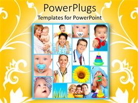 PowerPlugs: PowerPoint template with a beautiful depiction of a number of kids with doctors and toys