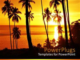 PowerPlugs: PowerPoint template with a beautiful depiction of a number of palm trees on the beach