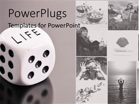 PowerPlugs: PowerPoint template with a beautiful depiction  of a number of people along with a dice
