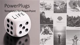 PowerPoint template displaying a beautiful depiction  of a number of people along with a dice