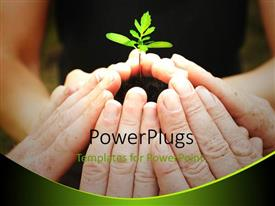 PowerPlugs: PowerPoint template with a beautiful depiction of a number of people caring for a plant