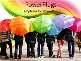 PowerPlugs: PowerPoint template with a beautiful depiction of a number of people with colorful umbrellas
