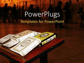 PowerPlugs: PowerPoint template with a beautiful depiction of a number of religious books together