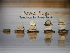 PowerPoint template displaying a beautiful depiction of a number of rocks placed above each other