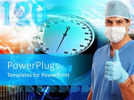 PowerPlugs: PowerPoint template with a beautiful depiction  of a nurse with health related material