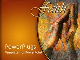 PowerPoint template displaying a beautiful depiction of a pair of hands praying with brownish background