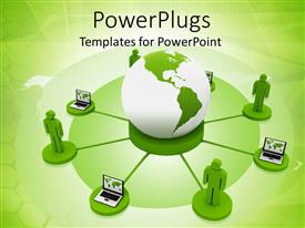 PowerPlugs: PowerPoint template with a beautiful depiction  of the people connected with each other through technology