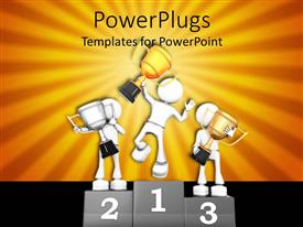 PowerPlugs: PowerPoint template with a beautiful depiction of people standing on the podium
