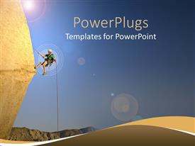 PowerPoint template displaying a beautiful depiction of a person climbing the mountain
