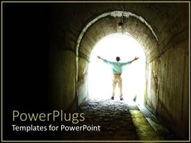 PowerPlugs: PowerPoint template with a beautiful depiction of a person who has crossed a dark tunnel