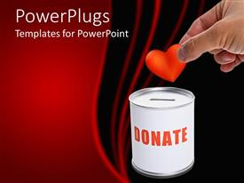 PowerPlugs: PowerPoint template with a beautiful depiction  of a person donating a heart