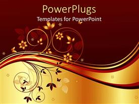 PowerPlugs: PowerPoint template with a beautiful depiction of plants and butterflies with golden and brown background