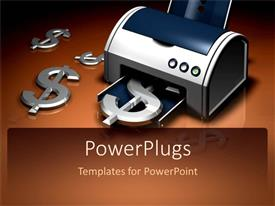 PowerPlugs: PowerPoint template with a beautiful depiction of a printing machine printing dollar signs