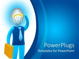 PowerPlugs: PowerPoint template with a beautiful depiction of a professional with ideas in his mind