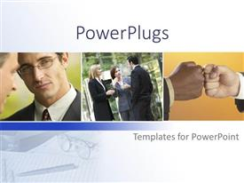 PowerPoint template displaying a beautiful depiction of professional people working together